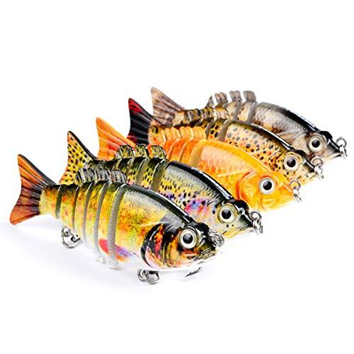 MKNZOME 1 señuelos de pesca multiarticulados para pesca de aguas topwater realistas con cebo duro para lucio, perca, trucha, muskie azul