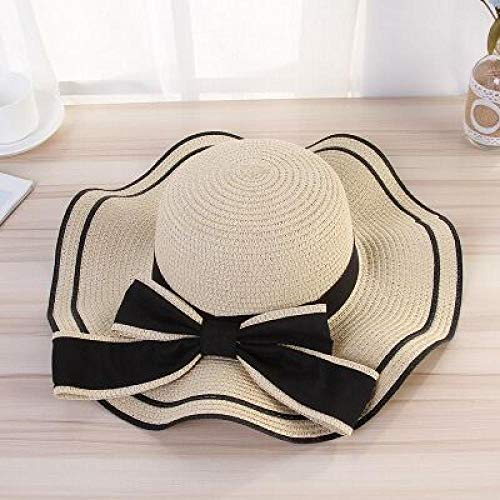 Jbwlkj Summer Sun Hat Frauen Strohhüte Sunshade Cap Mode Bow Beach Hat Faltbare Reisekappen-Beige Baseballkappe