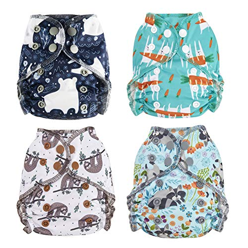 Thank u Mom Newborn Cloth Diaper All in One Bamboo Cotton for Less 12pounds Baby Pack of 4 (Animal)