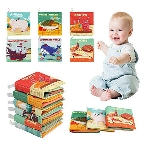 Ballery Libros Blandos para Bebé, No tóxicos Educación Temprana Libro de Tela Desarrollo de Inteligencia Libro de Cognición Aprendizaje y Educación para Bebé Recién Nacido Niños- 6 Piezas