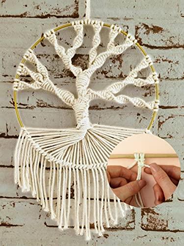 LIDAM Makramee-Set mit Videoanleitung   schöner DIY Deko-Wandbehang als Baum   Boho-Deko zum selber Machen mit Metallring und Makramee-Garn   DEKO-Wohnzimmer