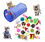*MQIAN 21PCS Joguines per a Paquet de Varietat per a Gatets, Set *di Joguines per a Gats Interactiu Ratolí,Joguines per a Gats amb Plomes túnel