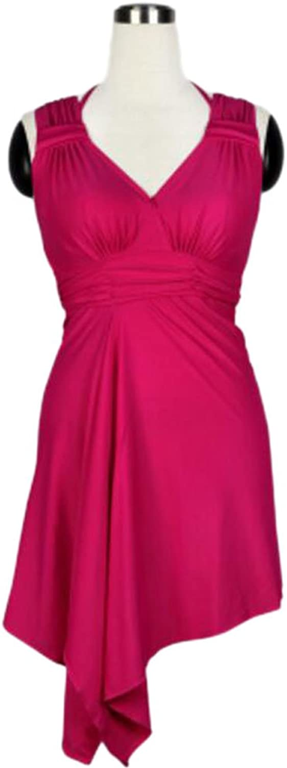 Fashion Sexy Red Swim Apparel Chest Gathered Hot Springs Dress Swimsuit