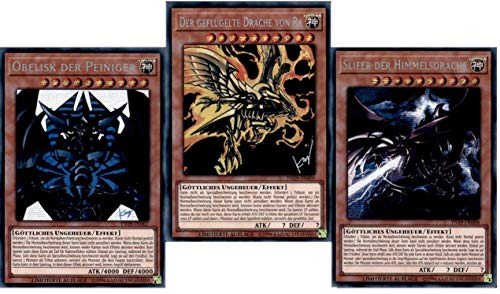 Yu-Gi-Oh! 3 Götterkarten Set TN19 Obelisk der Peiniger - Slifer der Himmelsdrache - Der Geflügelte Drache von Ra - Deutsch Alternative Art Secret Rare