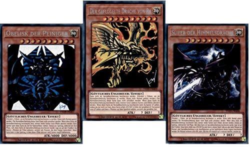 Yu-Gi-Oh! 3 Götterkarten Set TN19 Obelisk der Peiniger - Slifer der Himmelsdrache - Der Geflügelte Drache von Ra - Deutsch Alternative Art Secret Rare