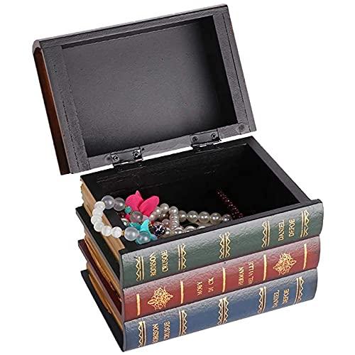 VBARV Caja de Almacenamiento con Forma de Libro Vintage, Caja de Almacenamiento Retro literaria, Caja de Almacenamiento de joyería Vintage, para exhibición de decoración, Estantería de café, Hotel
