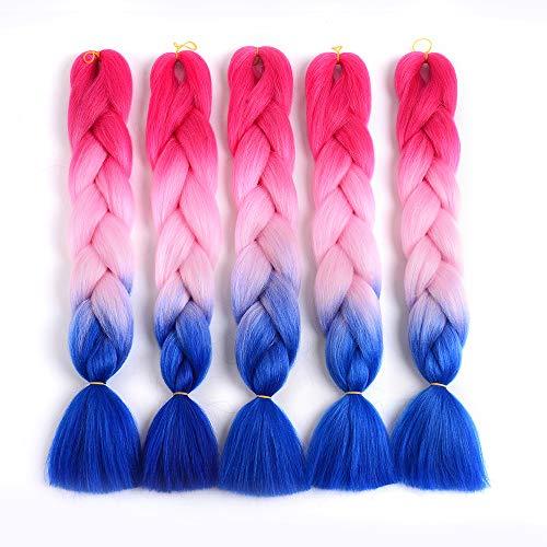 Showjarlly 5 Stücke Ombre Jumbo Braid Kunsthaar 24 Zoll 100g Kanekalon Haar Flechten Extensions Für Crochet Twist Flechten Haar (5PCS, C23#Pfirsich/Hellrosa/Königsblau)