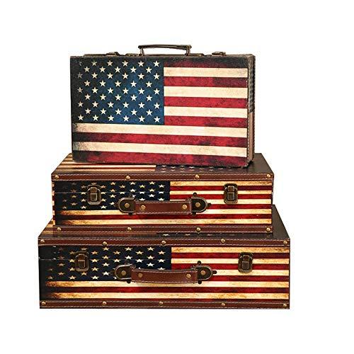 XBSXP Maletas Vintage Caja de Almacenamiento Decorativa Maletas Cajas Nido Almacenamiento de baratijas de joyería 3 Piezas para Almacenamiento (Color: Marrón, Tamaño: 3 PCS)