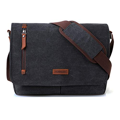 Messenger Bag for Men and Women, Canvas Leather 14 Inch Laptop Messenger Bag Shoulder Bag for Work School VONXURY