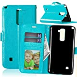 Qiaogle Teléfono Case - Funda de PU Cuero Billetera Clamshell Carcasa Cover para LG Stylus 2 Plus/LG Stylo 2 Plus / K535 / LG K12 - DK01 / Azul Estilo