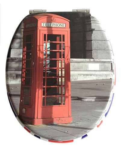 ADOB 32887 Holzkern WC Sitz Klobrille Telephone, Motiv, Absenkautomatik