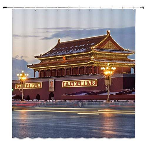 LRSJD Tiananmen Square Beijing Dekor Duschvorhang Stadt Nacht Szene Antike Gebäude Vorsitzender Mao Porträt Gelb Lampenlicht 72x72 Zoll wasserdichte Polyester Stoff Badvorhänge