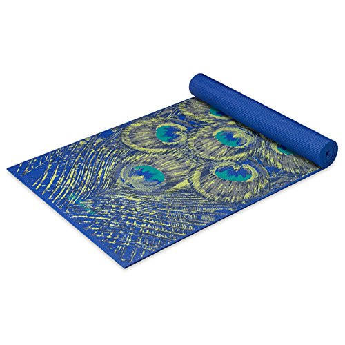 Gaiam Yoga Mat Premium Print Extra Thick Non Slip Exercise & Fitness Mat for All Types of Yoga, Pilates & Floor Workouts, Sapphire Feather, 6mm