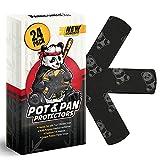 "Panda Shield Pot & Pan Protectors for Stacking – 24-Pack Felt Pan Separators for Cookware – 4 Different Sizes Pot Dividers 6 x 15""XXL + 6 x 13""XL + 6 x 11""L + 6 x 9""M Storing Pads for Pots Scratch"