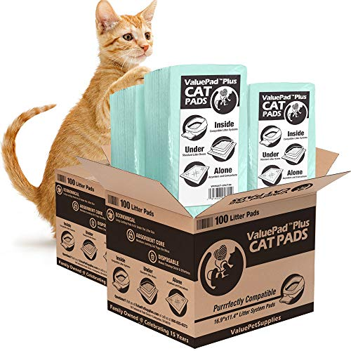 ValuePad Plus Cat Litter Pads, 16.9x11.4 Inch, Unscented, 200 Count - Breeze Compatible Refills - Generic Refill for Tidy Cat Breeze Litter System, Quick-Dry, Super Absorbent Gel Cat Pads