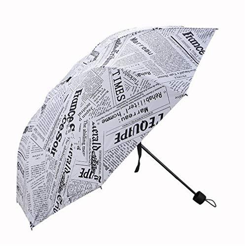 QYL Automatischer Regenschirm, Retro-Zeitung, 3-Fach faltbar, automatisches Öffnen und Schließen, leicht, UV-Schutz, Winddicht, automatische Regenschirme