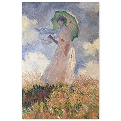 JUNIWORDS Poster, Claude Monet, Frau mit Sonnenschirm, nach links gewendet, Suzanne Hoschedé, 80 x 121 cm