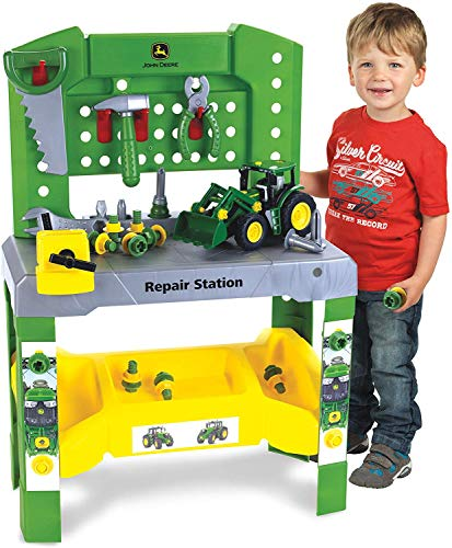 Theo Klein - John Deere Repair Station Premium Toys For Kids Ages 3 Years & Up