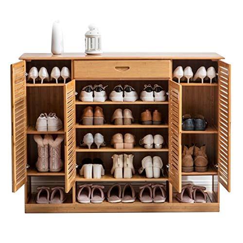 Zapatero Organizador de Almacenamiento Bambú Extra Grande con Cajones, 4 Puertas de Estilo Japonés Sala del Umbral Zapatos Gabinete, hasta 32 Pares
