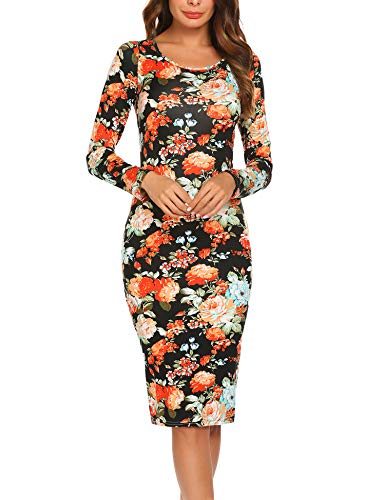 Hotouch Women's Floral Pencil Dress Knee Length Cocktail Bodycon Dress Black M