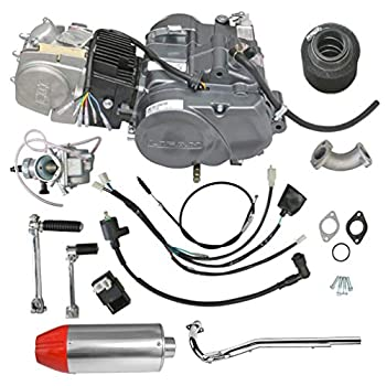 ZXTDR Lifan 140cc 4 Stroke Racing Engine Motor and Muffler Exhaust With Pipe for XR50 CRF50 XR CRF 50 70 ATC70 Dirt Pit Bike Motorcycle  140cc