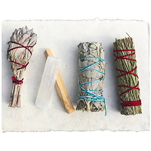 Maha Living Sage Smudge Stick Kit - White Sage, Palo Santo, Mini Sage, Sage Sweetgrass Smudging Sticks Plus A Selenite Crystal &Amp; How To Guide Cleansing Your Home - Hand Tied In California (Selenite)