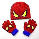 赤ん坊の帽子手袋セット子供の漫画の手下手袋帽子はスパイダーマンファッションキッズ暖かいニットキャップグローブビーニースーツを設定します。 (Color : Red)