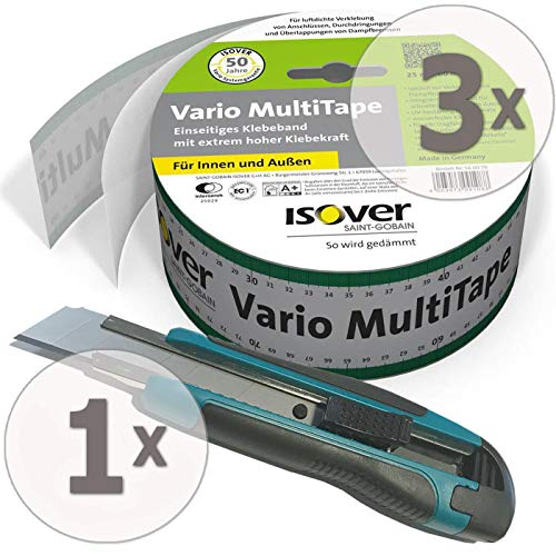Gardopia Sparpaket - 3 x ISOVER Vario MultiTape Klebeband 60mm/25m plus 1 x Nespoli soft touch Cutter 18 mm inkl. 3 Klingen