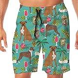 Boxer Tiki Fabric Tela Tropical de Verano Boxer Tela para Perros - Turquoise_511 Hombres Troncos de natación Surf Beach Holiday Party Swim Shorts Pantalones de Playa XXL