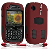 ATM ENTERPRISES Funda Funda Carcasa rígida para Blackberry Curve 8520 Color Rojo + Kit peatón + Protector