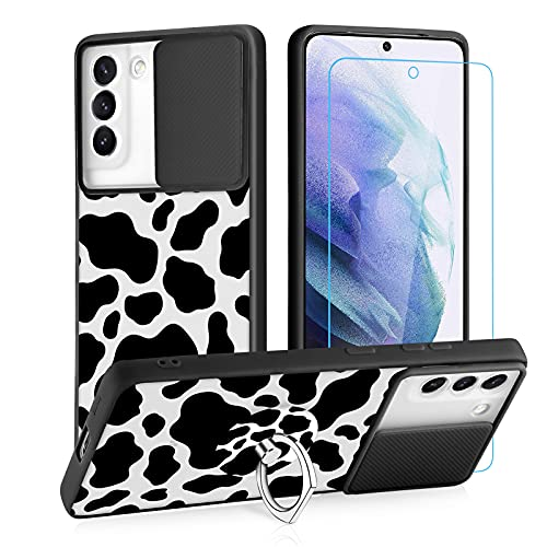Samsung Galaxy S21 Plus 5G Case Clear Matte Cow Print for Woman Girls with Screen Protector Ring Holder Kickstand Lens Camera Protection Slide Cover Translucent TPU Bumper Case for S21 Plus 5G 6.7'