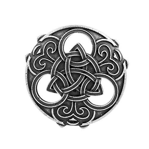 Norse Medieval Viking Shield Brooch, Clothes Fasteners - Cloak, Shawl, Scarf Pin, Celtic Norse Vintage Lapel Pin Badge - Silver