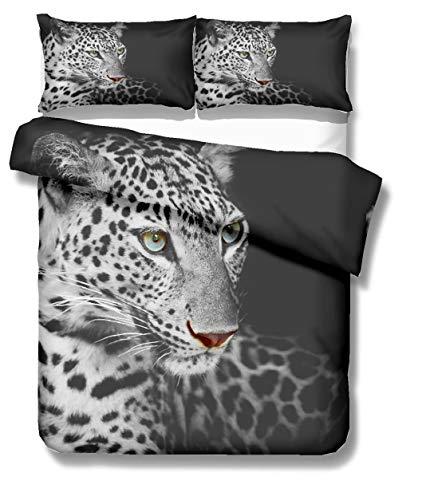 Stillshine Funda nórdica para niños 90 Camas 3D Animal Caballo Leopardo león Elefante Imprimiendo Ropa de Cama Funda nórdica y Funda de Almohada (Leopardo, 220 x 240 cm - Cama 150 cm)