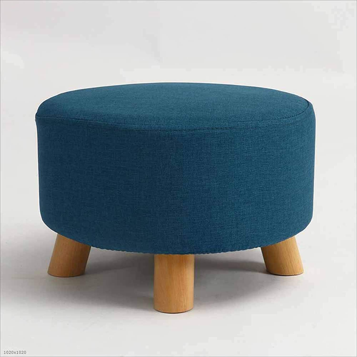 Sofa Stool Solid Wood Stool Fabric Washable Coffee Table Stool Small Stool Suitable for Living Room Bedroom, 2