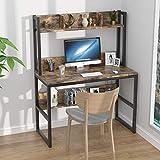 PAKASEPT Escritorio de computadora con estantes, Escritorio de Estudio con Soporte para Monitor, Mesa de Computadora Madera y Metal, Escritorio de Estudio para Oficina en Casa, 107 * 50 * 140 cm