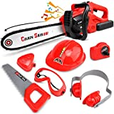 STEAM Life Kids Tool Set Electric Toy Chainsaw Costume - Kids Chainsaw Toys Tools Costume Includes Kid's Hard Hat, Goggles, Battery Powered Chain Saw - Pretend Play Toy Tools for Boys and Girls