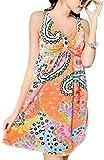 レディース 水着 ワンピース 花柄 リゾート ペイズリー柄 可愛い Aライン 体型カバー 大きいサイズ + シュシュ + スマホケース オレンジ L