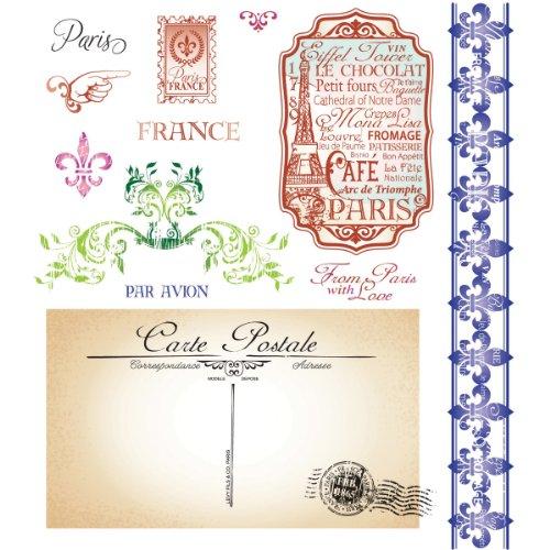 JustRite Stempel Englischem Stempel Set-Greetings From Paris, 13-Teilig