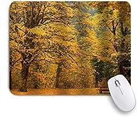マウスパッド 個性的 おしゃれ 柔軟 かわいい ゴム製裏面 ゲーミングマウスパッド PC ノートパソコン オフィス用 デスクマット 滑り止め 耐久性が良い おもしろいパターン (イチョウモダンフォレストベンチ紅葉自然葉)