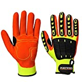 Portwest A721Y1RM Anti Impact Grip Glove, Regular, Size: Medium, Yellow/Orange
