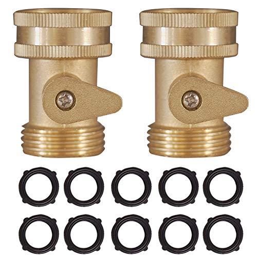Hourleey Brass Garden Hose Shut Off Valve, 2 Pack Heavy Duty 3/4 Inch Solid Brass Garden Hose Shut Off Valve with 10 Extra Rubber Washers