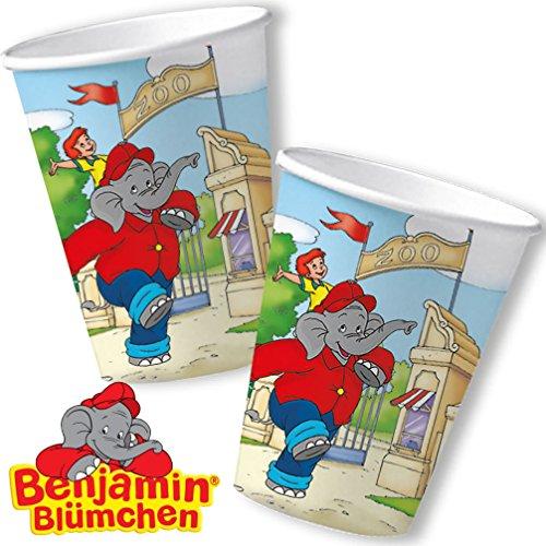 8 Becher * BENJAMIN BLÜMCHEN * für Kinderparty und Kindergeburtstag von DH-Konzept // Töröööö // Elefant Kinder Pappbecher Partybecher Party Set