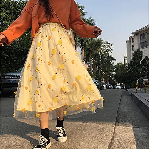 YWSZJ Giallo Fiore Pizzo Skrit Donne a Vita Alta Maglia Lungo Skrit Femmina Elegante Midi Tulle Gonna Dolce Carino Studente Studente Usura (Color : Yellow, Size : 2XL)