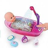 Brigamo Interaktive Puppen Badewanne mit funktionierender Dusche, inkl. Baby Badepuppe und viel...