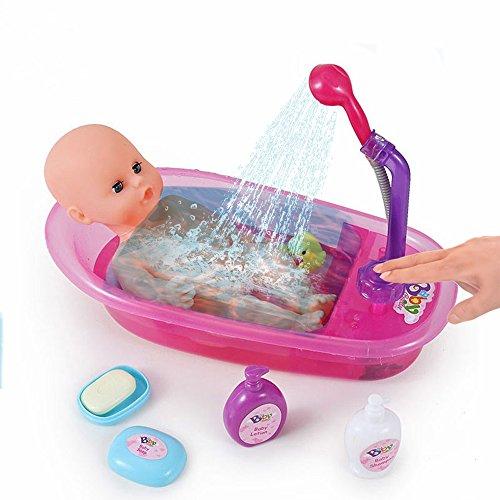❀ Brigamo interactif Poupées Baignoire avec douche, qui