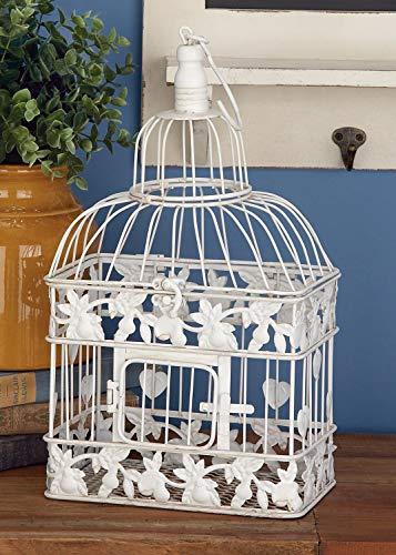 Deco 79 82676 2 pièces en métal de Cage à Oiseaux carré