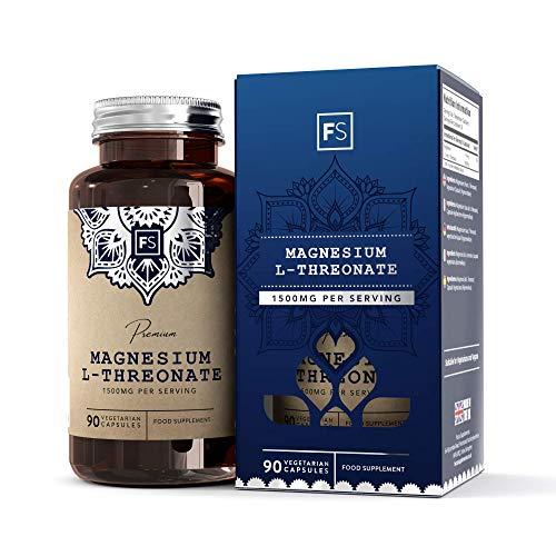 FS Magnesio L Treonato Activo 1500mg Suplemento | 90 Capsulas Veganas con Natural Magnesium Threonate | Nootropicos para Memoria y para el Cerebro | Ayuda per Noche de Sueño | Sin OGM y Sin Gluten