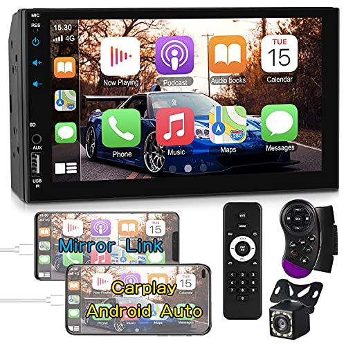 Double Din Car Stereo Compatible with Apple Carplay&Android Auto,7 Inch Full HD Capacitive Touchscreen Car Multimedia Player-Bluetooth,Mirror Link,Backup Camera,USB/TF Port,AUX Input,FM/AM Car Radio