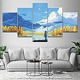 PEJHQY Decoración para el hogar Impresión Lienzo Pintura al óleo Arte de la Pared Marco Imagen 5 Panel Cielo Azul Nubes Blancas Chica Sala de Estar Cartel Obra de Arte,Cuadro en Lienzo Lanzarote