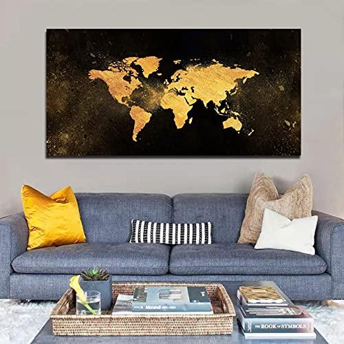 yunxiao decoración Arte desinteresado Arte Abstracto mapas Dorados para la Pared de la Sala de Estar Impresiones en Lienzo Carteles Lienzo Cuadros Modernos de Azulejos Negros Cartel decoración